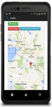 RafikiNet Android with handset - Map
