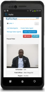 RafikiNet Android with handset - Profile Page